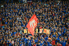 BANGKOK THAILAND NOV12: 2015 Unidentified fans of Thailand support. Ers during the Fifa World Cup Group F qualifying Match between Thailand and Chinese Taipei at Royalty Free Stock Photography
