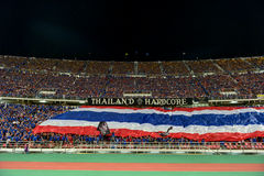 BANGKOK THAILAND NOV12: 2015 Unidentified fans of Thailand support. Ers during the Fifa World Cup Group F qualifying Match between Thailand and Chinese Taipei at Royalty Free Stock Photo