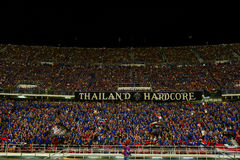 BANGKOK THAILAND NOV12: 2015 Unidentified fans of Thailand support. Ers during the Fifa World Cup Group F qualifying Match between Thailand and Chinese Taipei at Stock Photos