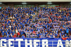 BANGKOK THAILAND NOV12: 2015 Unidentified fans of Thailand support. Ers during the Fifa World Cup Group F qualifying Match between Thailand and Chinese Taipei at Royalty Free Stock Images