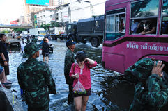BANGKOK, THAILAND - NOVEMBER 04. Heavy flooding from monsoon rain in Ayutthaya and north Thailand arriving in Bangkok on November 04,2011 Bangkok, Thailand.At Royalty Free Stock Photo