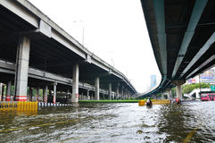 BANGKOK, THAILAND - NOVEMBER 05. Heavy flooding from monsoon rain in Ayutthaya and north Thailand arriving in Bangkok on November 05,2011 Bangkok, Thailand,At Royalty Free Stock Photos