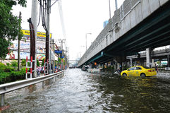 BANGKOK, THAILAND - NOVEMBER 05. Heavy flooding from monsoon rain in Ayutthaya and north Thailand arriving in Bangkok on November 05,2011 Bangkok, Thailand,At Stock Images