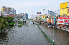 BANGKOK, THAILAND - NOVEMBER 05. Heavy flooding from monsoon rain in Ayutthaya and north Thailand arriving in Bangkok on November 05,2011 Bangkok, Thailand,At Stock Photography