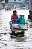 BANGKOK, THAILAND - NOVEMBER 05. Heavy flooding from monsoon rain in Ayutthaya and north Thailand arriving in Bangkok on November 05,2011 Bangkok, Thailand,At Stock Image