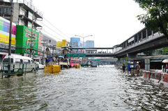 BANGKOK, THAILAND - NOVEMBER 05. Heavy flooding from monsoon rain in Ayutthaya and north Thailand arriving in Bangkok on November 05,2011 Bangkok, Thailand,At Royalty Free Stock Images