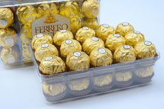 Free BANGKOK THAILAND - November 15, 2017: A Box Of Ferrero Rocher Chocolates. Since 1982, The Candy Consists Of A Whole Roasted Hazeln Royalty Free Stock Image - 108826196