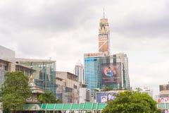BANGKOK, THAILAND - 28. NOVEMBER 2016: Ansicht von Wolkenkratzern und von Stadtfahnen Kopieren Sie Platz Raum für Text Stockfotografie