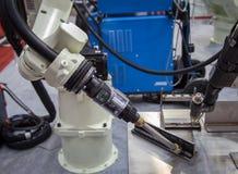 Arc welding robot. Bangkok, Thailand - November 22, 2017: Arc welding robot in Metalex 2017 Royalty Free Stock Photography