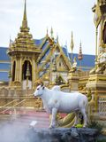 Mythical creatures of Himvanta. Bangkok Thailand, November 11, 2017 : Cow-like mythical creatures of Himvanta around The Royal crematorium of King Rama IV Royalty Free Stock Photos