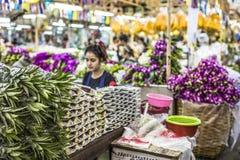 BANGKOK THAILAND - NOVEMBER 07, 2015: Den lokala kvinnan säljer thailändsk st Arkivbilder