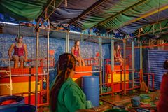 Thailand Dunk tank girl in `Loi Krathong ` Temple Fair of wat saket temple.Bangkok city Thailand royalty free stock photography