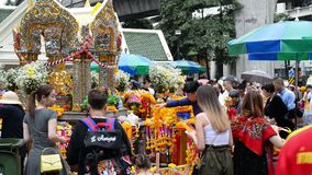 Bangkok, Thailand - November 2, 2018 : Foreigners and local people visit at worship Erawan Shrine.  stock video footage