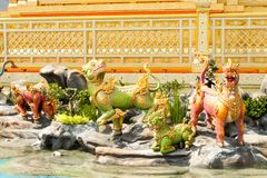 Four Myhtical creatures in Himavanta forest decorated around the Royal Crematorium on November 04, 2017. Bangkok, Thailand - November 04, 2017; Four Myhtical Royalty Free Stock Photo