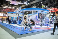 Bangkok, Thailand - 30. November 2018: Gas-Energie-Führer Postverwaltung blauer an Bewegungsausstellung 2018 Thailands internatio lizenzfreies stockbild