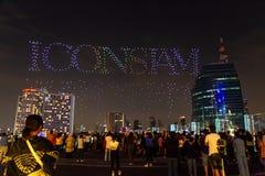 Bangkok, Thailand - November 9, 2018 : Grand opening IconSiam 1,500 drone beautiful light show 2018. stock photo