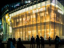BANGKOK, THAILAND - NOVEMBER 14, 2018 : Hermes Super Luxury Brand in The iconsiam department store which have many shopping store stock photo