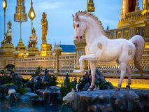 Mythical creatures of Himvanta. Bangkok Thailand, November 11, 2017 : Horse-like mythical creatures of Himvanta around The Royal crematorium of King Rama IV Royalty Free Stock Images