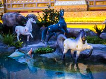 Mythical creatures of Himvanta. Bangkok Thailand, November 11, 2017 : Horse-like mythical creatures of Himvanta around The Royal crematorium of King Rama IV Stock Image