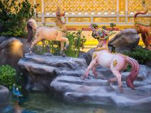 Mythical creatures of Himvanta. Bangkok Thailand, November 11, 2017 : Horse-like mythical creatures of Himvanta around The Royal crematorium of King Rama IV Stock Photos