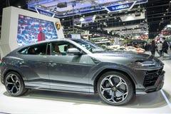 Bangkok, Thailand - 30. November 2018: Lamborghini-Auto und -zusatz an Bewegungsausstellung 2018 Thailands internationaler BEWEGU stockfotos