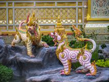 Mythical creatures of Himvanta. Bangkok, Thailand, November 11, 2017 : Lion-like mythical creatures of Himvanta around The Royal crematorium of King Rama IV Royalty Free Stock Photo