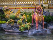 Mythical creatures of Himvanta. Bangkok Thailand, November 11, 2017 : Lion-like mythical creatures of Himvanta around The Royal crematorium of King Rama IV Royalty Free Stock Images