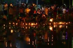 Bangkok Thailand 6 november 2014 - Loy krathong festival at lump Royalty Free Stock Photo