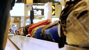 Bangkok, Thailand 22 november 2015, Luggage travels on a conveyor belt in the airport. Luggage travels on a conveyor belt at the airport stock video