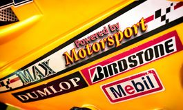 BANGKOK, THAILAND - NOVEMBER 26: Motorcycle fairing proudly displays knock off logo stickers of famous motorsport brands in stock photo