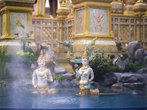 Mythical creatures of Himvanta. Bangkok Thailand, November 11, 2017 : Naga human mythical creatures of Himvanta around The Royal crematorium of King Rama IV Stock Photos