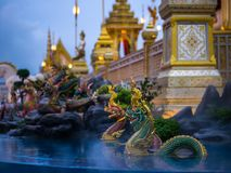 Mythical creatures of Himvanta. Bangkok Thailand, November 11, 2017 : Naga mythical creatures of Himvanta around The Royal crematorium of King Rama IV Stock Image