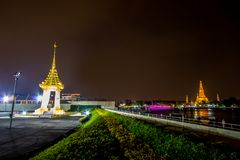 Bangkok,Thailand on November13,2017:Night scene of Replica of the Royal Crematorium for the Royal Cremation of His Majesty King Bh stock image