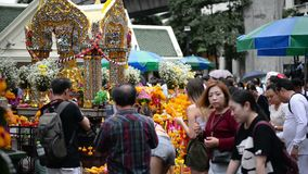 Bangkok, Thailand - November 2, 2018 : People and tourist visit at worship Erawan Shrine.  stock footage