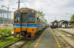 Rapid train diesel railcar at station. BANGKOK THAILAND - 11 NOVEMBER 2017 : Rapid train diesel railcar is moving away from railway junction Bang Sue station Royalty Free Stock Photos