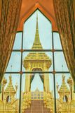 The Royal Crematorium of King Bhumibol Adulyadej, view from wind stock photo