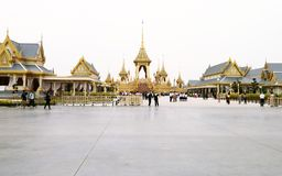 Thai people visit in The Royal Crematorium of the funeral exposition Stock Photos