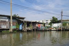 Travel through the streets-channels of the urban area. Houses of locals. Bangkok, Thailand, November 22, 2016. Travel through the streets-channels of the urban royalty free stock photo