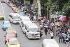 Bangkok, Thailand - November 07, 2015: van taxis, taxis and peop Stock Photo