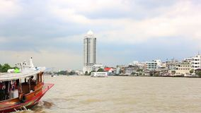 Bangkok, Thailand - November 15, 2017: View of the city from the boat. The house on stilts. stock video footage