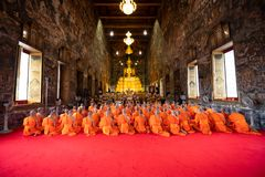 Bangkok, Thailand - Oct 5, 2017: Buddhist monks Religious Ceremony praying in front of the Buddha image in the temple at Wat. Suthat in Bangkok, Thailand royalty free stock photography