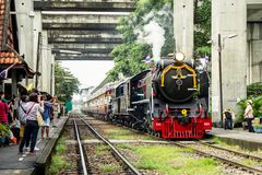 Train pacific steam locomotive in Chulalongkorn Day is holiday that important of Thailand. BANGKOK, THAILAND - 23 Oct 2018 : Chulalongkorn Day is holiday that royalty free stock photos