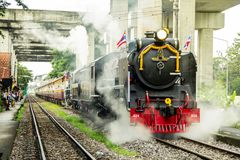 Train pacific steam locomotive in Chulalongkorn Day is holiday that important of Thailand. BANGKOK, THAILAND - 23 Oct 2018 : Chulalongkorn Day is holiday that royalty free stock photo