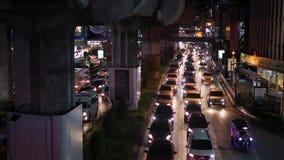 Bangkok, Thailand - 21 OCT 2017: Night Road traffic in BKK City Near Shopping Mall. 4K. Bangkok, Thailand - 21 OCT 2017: Night Road traffic in BKK City Near stock video