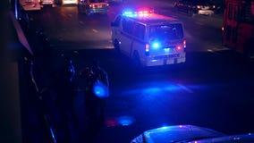 Bangkok, Thailand - 21 OCT 2017: Night Time Motorbike Accident Scene with Emergency Vehicle Aambulance. 4K. Bangkok, Thailand - 21 OCT 2017: Night Time Motorbike stock video
