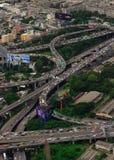 BANGKOK, THAILAND- OCTOBER 28, 2014. Aerial view on highway overpass in Bangkok, Thailand royalty free stock photo