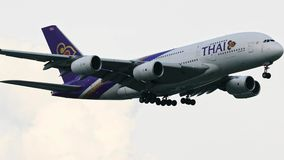 Bangkok thailand - october1,2018 : airbus a380 plane of thai airway approach for landing to suvarnabhumi airport