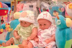 BANGKOK, THAILAND - OCTOBER 29: Baby section in The Mall Bangkhae displays baby products for sale by dressing up baby dolls on stock photography