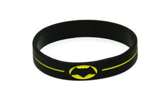 BANGKOK, THAILAND -OCTOBER 2, 2016: Batman Logo on black wristband on October 2,2016 stock photo