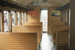 BANGKOK THAILAND - October 2015: Cabin of public train with wooden seat at Bangkok Railway Station (Hua Lamphong in Thai language) Stock Image